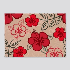 Hawaiian Hibiscus Pattern Red 5'x7'Area Rug