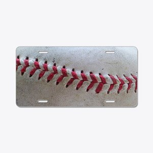 Baseball Stitches Aluminum License Plate