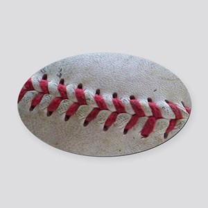 Baseball Stitches Oval Car Magnet