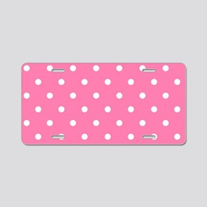 PINK AND WHIE Polka Dots Aluminum License Plate