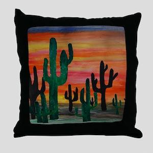 Cactus desert sunset Throw Pillow