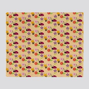 Pretty Flowers Bees and Ladybug Patt Throw Blanket