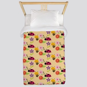 Pretty Flowers Bees and Ladybug Pattern Twin Duvet