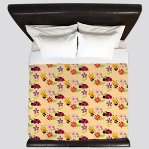 Pretty Flowers Bees and Ladybug Pattern King Duvet