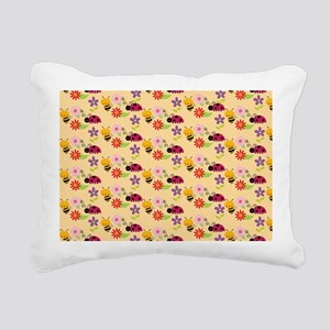 Pretty Flowers Bees and Rectangular Canvas Pillow