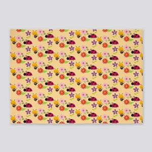 Pretty Flowers Bees and Ladybug Pat 5'x7'Area Rug