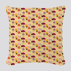 Pretty Flowers Bees and Ladybu Woven Throw Pillow
