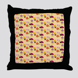 Pretty Flowers Bees and Ladybug Patte Throw Pillow