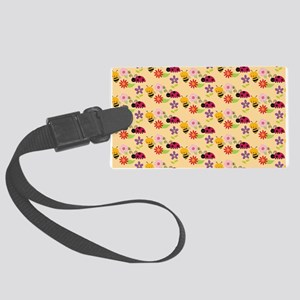 Pretty Flowers Bees and Ladybug Large Luggage Tag