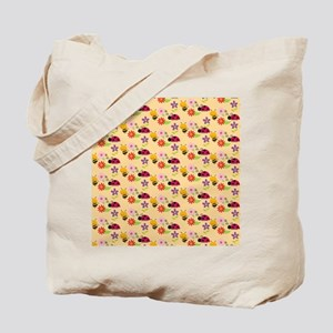 Pretty Flowers Bees and Ladybug Pattern Tote Bag