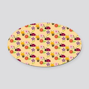 Pretty Flowers Bees and Ladybug Pa Oval Car Magnet