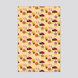 Pretty Flowers Bees and Ladybug Mini Poster Print