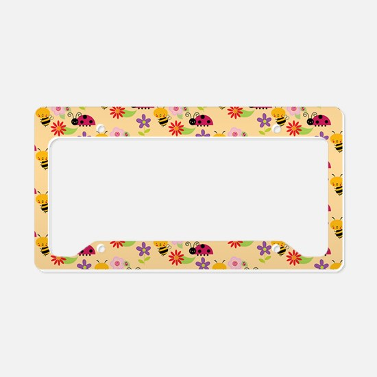 Pretty Flowers Bees and Ladyb License Plate Holder