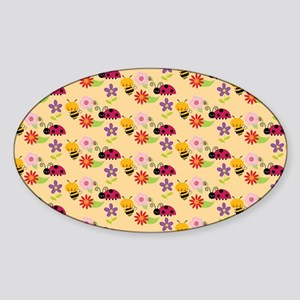 Pretty Flowers Bees and Ladybug Pat Sticker (Oval)
