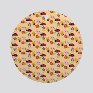 Pretty Flowers Bees and Ladybug P Ornament (Round)