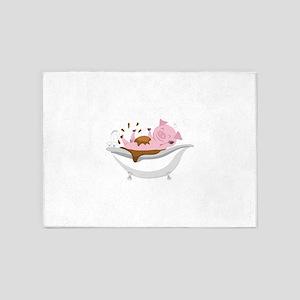 PIG IN BATHTUB 5'x7'Area Rug