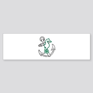 ANCHOR AND SEAHORSE APPLIQUE Bumper Sticker