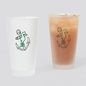 ANCHOR AND SEAHORSE APPLIQUE Drinking Glass