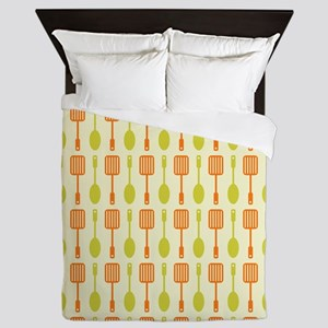 Retro Kitchen Cooking Utensils Queen Duvet