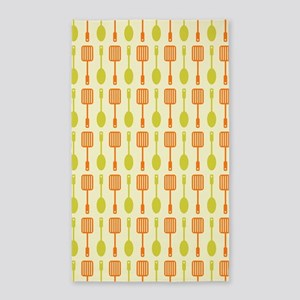 Retro Kitchen Cooking Utensils Area Rug