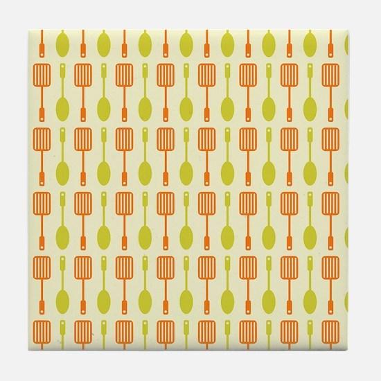 Retro Kitchen Cooking Utensils Tile Coaster
