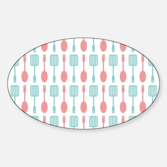 Retro Kitchen Cooking Utensils Sticker (Oval)