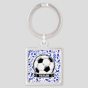 Blue Soccer Keychains