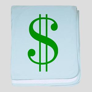 $ green dollar sign baby blanket