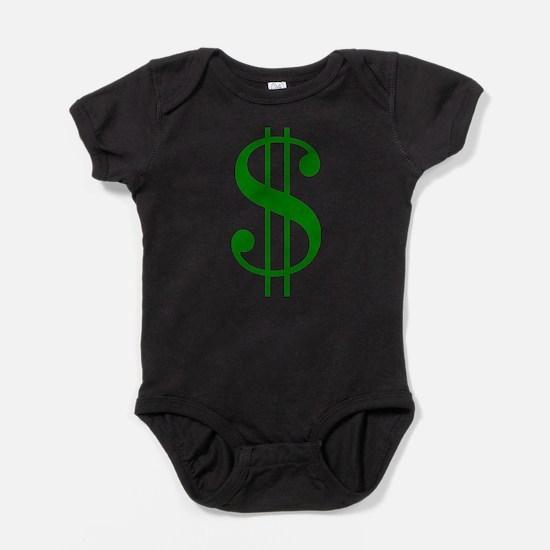 $ green dollar sign Baby Bodysuit