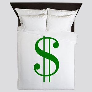 $ green dollar sign Queen Duvet