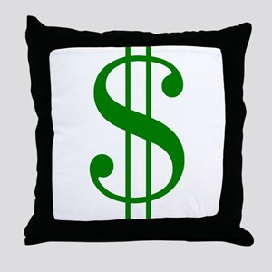 $ green dollar sign Throw Pillow