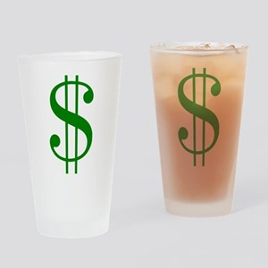 $ green dollar sign Drinking Glass