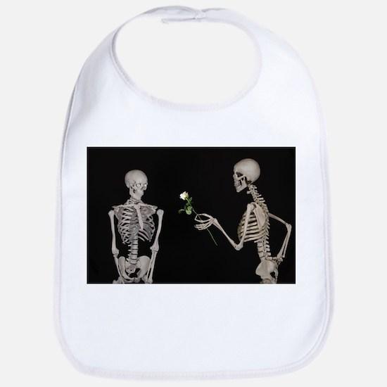 goth valentines day skeletons Bib