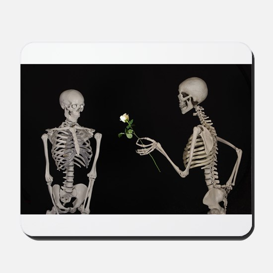 goth valentines day skeletons Mousepad