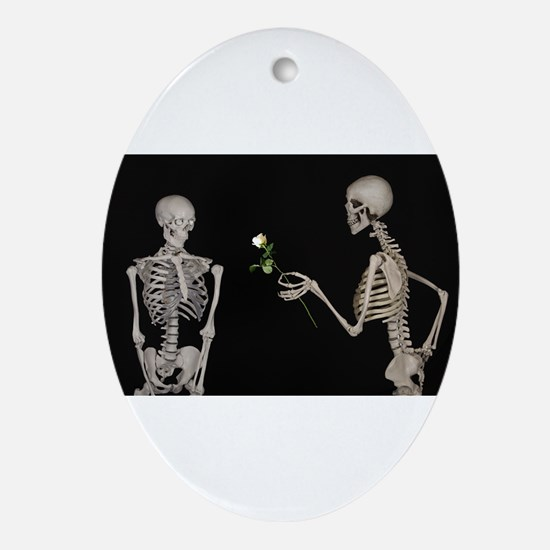 goth valentines day skeletons Ornament (Oval)