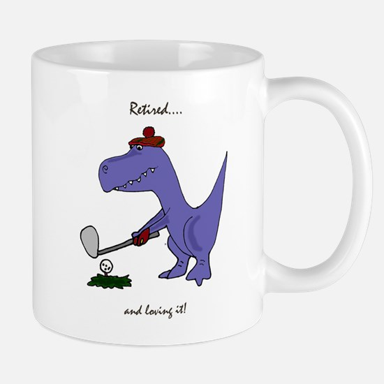 Retired Golfer Dinosaur Mugs