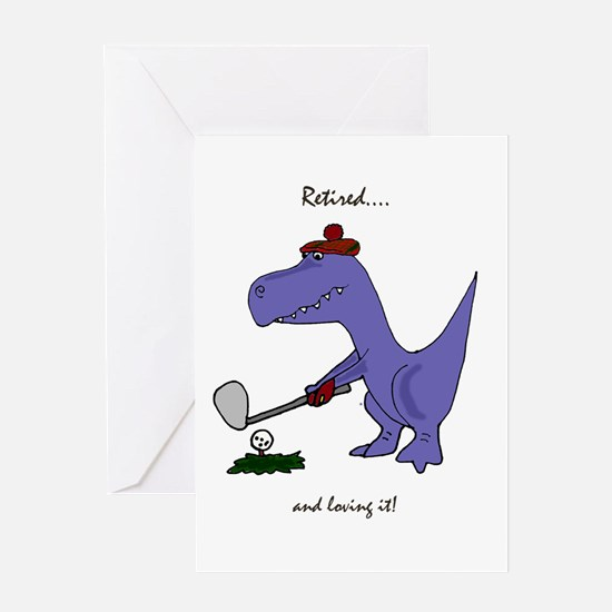 Retired Golfer Dinosaur Greeting Cards