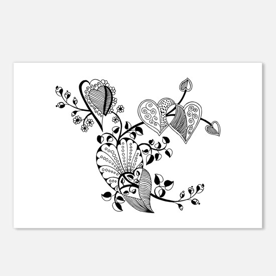 Floral Hearts Postcards (Package of 8)