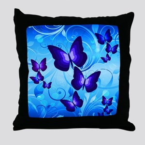 Indigo Butterflies Throw Pillow
