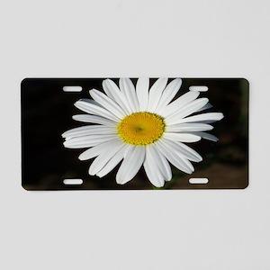 White Daisy Aluminum License Plate