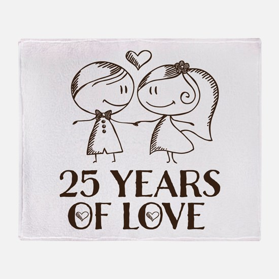 25th Anniversary chalk couple Throw Blanket
