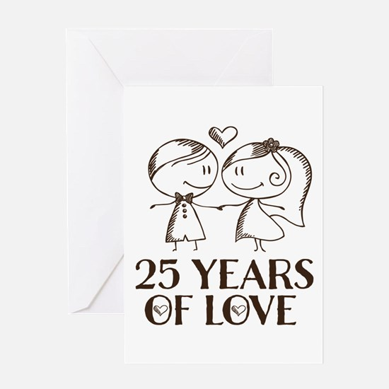 25th Anniversary chalk couple Greeting Card