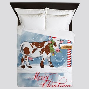 Merry Christmas Cow North Pole Queen Duvet