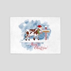 Merry Christmas Cow North Pole 5'x7'Area Rug