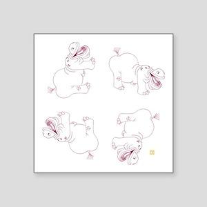 """Happy Hippo Divine Perfecti Square Sticker 3"""" x 3"""""""