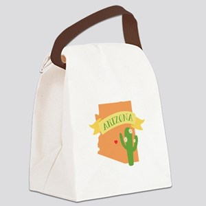 Arizona Cactus Blossom Canvas Lunch Bag