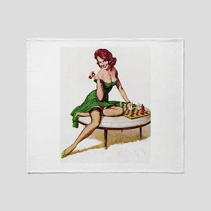 Vintage Pin-Up Throw Blanket