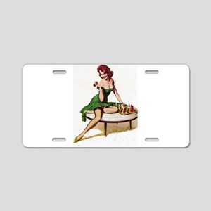 Vintage Pin-Up Aluminum License Plate