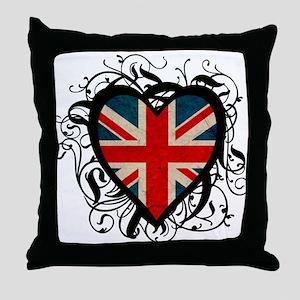 Heart England Throw Pillow