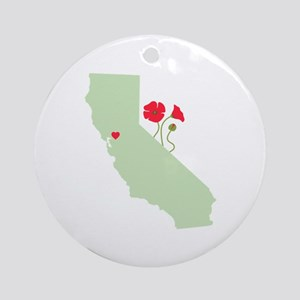 California State Map Ornament (Round)